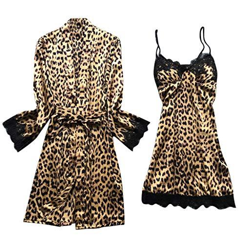 Swyss Women's Satin Silk Pajamas Set Leopard Lace Trim Kimono Robe and Chemise Nightgown Pj Set Sleepwear Nightwear (Brown,XL)