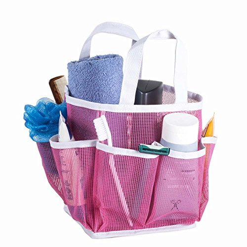 Mesh Portable Shower Tote and Caddy - Multiple Colors Available. Perfect For Dorm, Gym, Bath with Handles. Fast Drying, Pink with White Trim