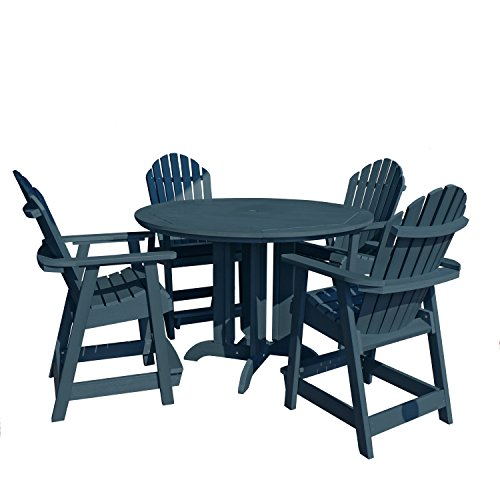 Highwood 5 Piece Hamilton Round Counter Height Dining Set, Nantucket Blue
