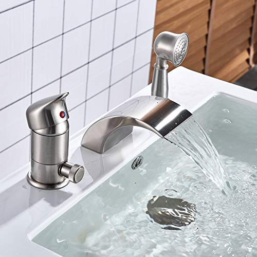 Rozin Brushed Nickel 3pcs Waterfall Spout Single Handle Bathtub Filler Faucet with Hand Shower ()