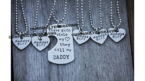 These girls stole my heart call me daddy 6 piece set 5 hearts 1 dog tag necklace pendant