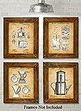Original Coffee Patent Art Prints - Set of Four Photos (8x10)...
