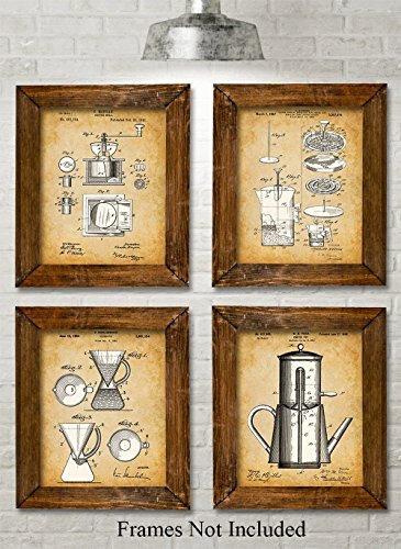 Original Coffee Patent Art Prints - Set of Four Photos (8x10) Unframed - Great Gift for the Coffee Lover or Kitchen Decor ()