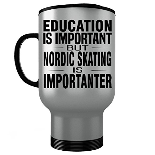 NORDIC SKATING Stainless Steel Travel Mug - Good for Gifts - Unique Coffee Cup