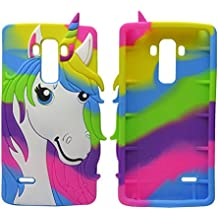 LG Stylus Case,LS770 Colorful Unicorn Horse Case,JJQ Lovely 3D Soft Protective Silicone Cell Phone Back Case Cover for LG G4 Stylus 4G H630 H635 H540F / G Stylo H634 LS770
