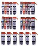 26 Pack - Toners & More ® Compatible Inkjet Cartridge Set for Canon PGI-220 & CLI-221 PGI220 CLI221, PGI-220BK Large Black, CLI-221BK Small Black, CLI-221C Cyan, CLI-221M Magenta, CLI-221Y Yellow, Compatible with Canon PIXMA IP3600, IP4600, MP620, MP980, MX860, MP560, IP4700, MP640, MP990, MX870, MP640R, MP620B