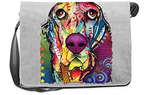 Pop Art Canvas ::: Basset ::: peppige Umhängtasche mit Art Style Hunde Motiv