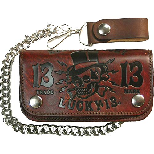 Lucky 13 DEATH OR GLORY Embossed Leather Wallet Antiqued Brown