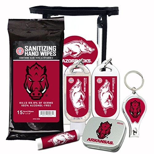 Price comparison product image Arkansas Razorbacks 6-Piece Fan Kit with Decorative Mint Tin, Nail Clippers, Hand Sanitizer, SPF 15 Lip Balm, SPF 30 Sunscreen, Sanitizer Wipes. NCAA Gifts for Men and Women