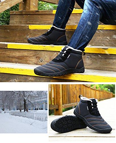Scarpe Stivaletti Nero Stivali Uomo Piatto Impermeabile Boots da Donna Neve 46 34 Invernali Caviglia Sportive Fexkean Botas DF zUYqwS4q