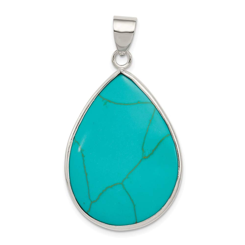 Jewelry Stores Network Teardrop Turquoise Pendant in 925 Sterling Silver 40x24mm