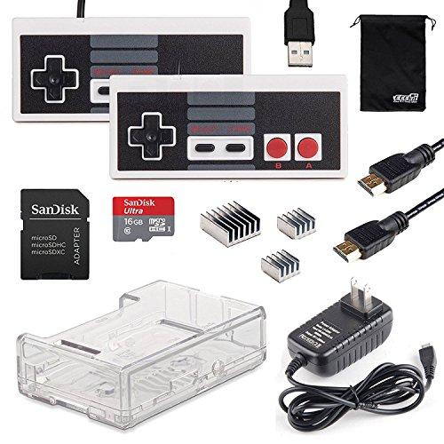 EEEKit Nintendo NES System Controller Gamepad Console, Raspberry Pi 3 Model B / Pi 2 Model B Clear Case Box, Wall Charger, Heatsinks, HDMI Cable, 16GB Sandisk Card Black Friday & Cyber Monday 2015