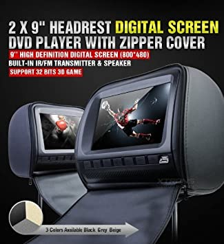 New 2018 Dual Black 9 Headrest Dvd Player Monitors, Dual Channel Wireless Headphones, Games, Protective Zipper Covers