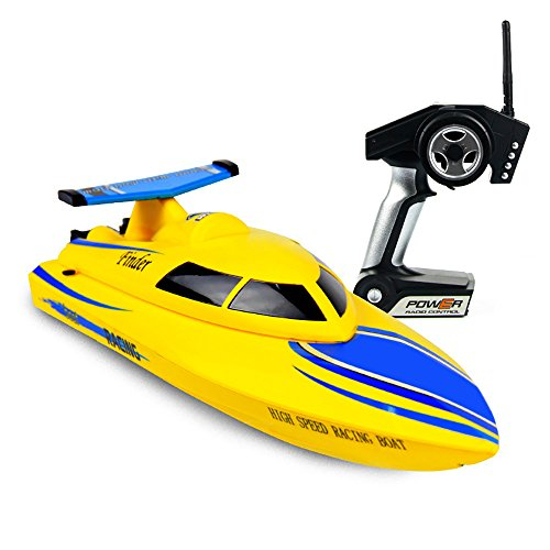 ToyPark Rc Boat, 2.4GHz 4CH High Speed Lakes and Outdoor Adventure (Just Work on Water) (Yellow)