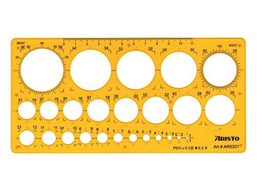 Aristo ar5331 cerchiometro con Tusch oppen, 25 cerchi, 1 –  36 mm, Trasparente/Giallo 25cerchi 1-36mm
