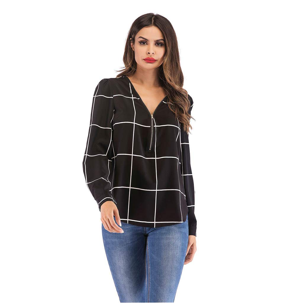 AmyDong Women V-Neck Check Zipper Tops Long Sleeve Casual Plaid Blouse Silm Work Stripe Shirt S-XL Black by AmyDong Women Blouse
