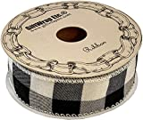 "Black White Buffalo Plaid Ribbon - 1 1/2"" x 10"