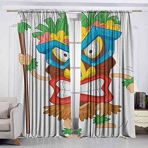 VIVIDX Rod Pocket Drapes and Curtain,Tiki Bar,Native Man Wearing a Mask Illustration Cartoon Tribal Costume Primitive Ritual,Great for Living Rooms & Bedrooms,W72x45L Inches Multicolor ()