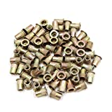 uxcell® 80Pcs Copper Tone Metal 1/4-20 UNC Rivet Nut Flat Head Insert Nutsert for Car
