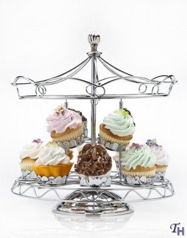 Carousel Silver-Plated Ride Centerpiece Party Cupcake Holder, Holds 12 Cupcakes