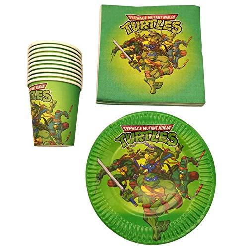 60PCS Baby Shower Food Grade Paper Plates Cups Ninja Turtles Theme Napkins Decoration Birthday Party Set Kids Favors -