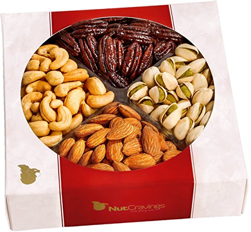 Nut Cravings Gourmet Nut Medium Holiday Gift Tray with Striking Presentation - 4-Section Holiday or Anytime Assorted Nuts Gift Baskets (Nuts And Fruit Gift Baskets)