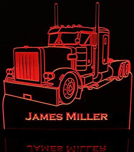 (Semi Truck Acrylic Lighted Edge Lit LED Sign / Light Up Plaque VVD15)
