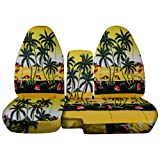 2004 to 2012 Ford Ranger/Mazda B-Series Hawaiian Truck Seat Covers (60/40 Split Bench) with Center Armrest/Console Cover: Yellow w Palm Tree - (4 Prints Available)