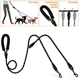 Double Dog Leash - Lukovee Double Dog Leash Splitter, Dual Pet Leash Coupler Connect to Collar Harness Slideable Rope Dog Lead with Soft Padded Handle, No Tangle 360° Swivel Hook for 2 Dogs Walking Training