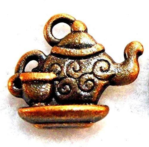 10Pcs. Tibetan Antique Copper TEAPOT & Cup Charms Pendants Earring Drops PR304 Crafting Key Chain Bracelet Necklace Jewelry Accessories - Peppermint Tea Venus