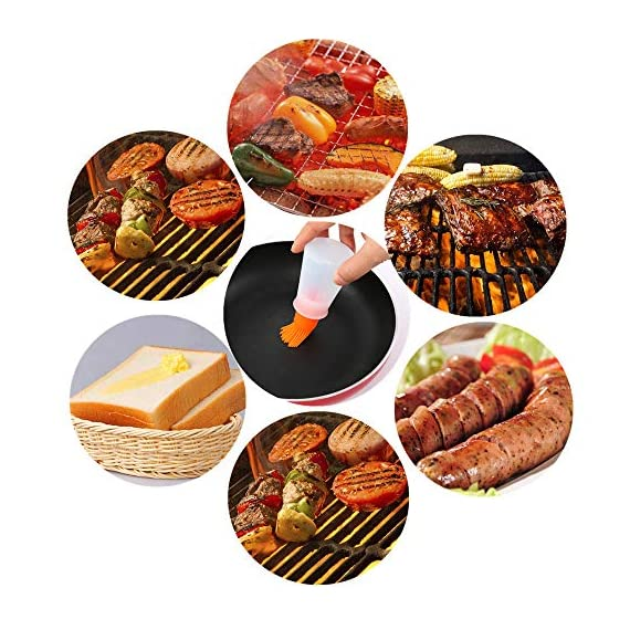 Pankia Go Food Grade Silicone Basting Brush BBQ Oil Bottle Kit Barbecue, Frying, Salad, Baking Collapsible Funnel Cleaning Brush, Set of 8 5 【Great Cooking Kit】The package including 3pcs silicone oil bottle, 3pcs silicone brushes, 1pcs collapsible funnel, 1pcs cleaning brush. Intimate kitchen sets are suitable for various cooking needs. 【Safety and Health】100% food grade silicone material, BAP free, FDA approved and eco-friendly. 【Multifunctional Kitchen Tools】Easy to use and clean, easy to bast on a variety of liquid sauce, marinade with oil, butter, sauces, jam,water for cooking. It is suitable for baking cakes, brush jams, brush honey water, barbecue, steak brush oil and so on.