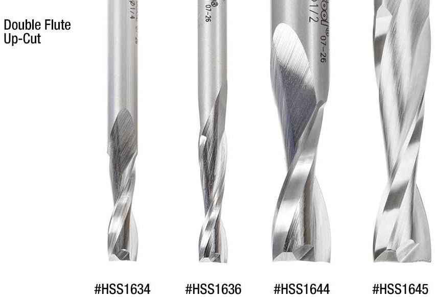 Amana Tool HSS1624 HSS Spiral Aluminum Cutting Single Flute Up-Cut 5//16 D x 3//4 CH x 1//2 SHK 3-1//4 Inch Long Router Bit