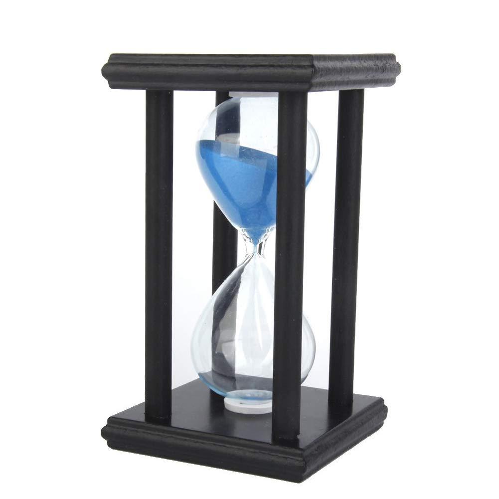 lujiaoshout 30-Minuten-Sanduhr Sand-Timer mit Holzgestell Sand Uhr für Home Desk Büro-Dekor (blau)