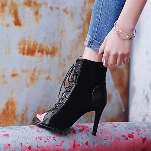 Toe Sandalias Mujeres Fiesta Zpfme Peep Aguja Zapatos Black Tacon Obra De wgn8zq8d6
