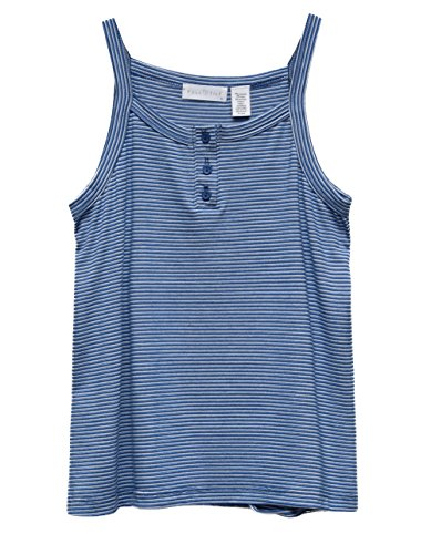 Stripe Henley Tank - Full Tilt Stripe Henley Girls Tank Top, Blue/White, Large