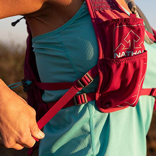 Nathan TrailMix Running Vest/Hydration Pack. 7L (7 Liters) for Men and Women | 2L Bladder Included (2 liters). Zipper, Phone Holder, Water (Sangria/Magenta Purple/Sky Blue, One Size Fits Most) by Nathan (Image #5)