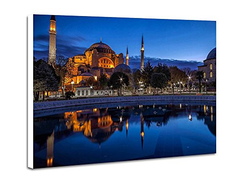 Blue Night Sultan Ahmed Mosque Istanbul Art Print Home Wall Hang Decor Poster Frameless Decorative Painting(16x24x1 - Ahmed Sultan Mosque