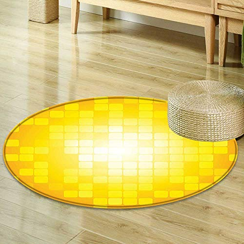 Mikihome Dining Room Home Bedroom Carpet Yellow Decor Mosaic Retro Square Shapes and Patterns Pixels Rays Chic Contemporary Graphic Design Orange Yellow Non Slip Rug R-35