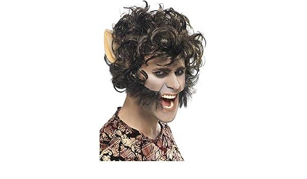 Peluca de hombre lobo con patillas y orejas Caperucita Roja carnaval bestia: Amazon.es: Juguetes y juegos