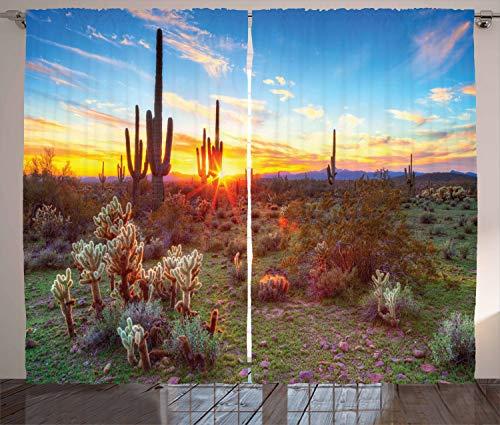 "Ambesonne Saguaro Curtains, Sun is Setting Between Saguaros Wildflowers in The Sonoran Desert Scene Picture, Living Room Bedroom Window Drapes 2 Panel Set, 108"" X 84"", Orange Olive"