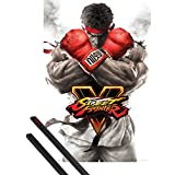 Poster + Hanger: Street Fighter Poster (36x24 inches) 5, Ryu Key Art And 1 Set Of Black 1art1® Poster Hangers