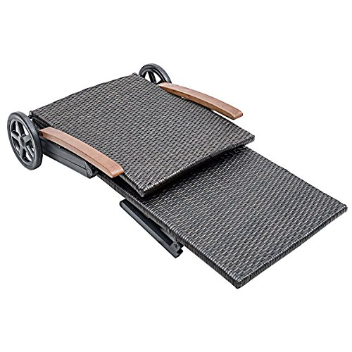 Outdoor Chaise Lounge with 2 Wheels for Easy Movement Folding Recliner 7 Adjustable Position Rattan Lounge Chair Heavy Duty Aluminum Tube Construction Perfect for Patio Garden Beach Pool Side Using by HPW (Image #3)