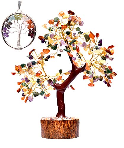 Crystals Healing Stones Multi 7-Chakra Natural 300-Gemstone Bonsai Fortune Money Tree (Tree of Life NECKLACE GIFT) for Good Luck Prosperity-Home Office Decor Spiritual Gift Golden Wire Size 10-12 Inch