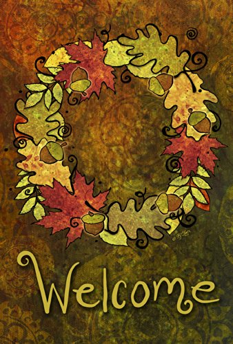 Toland Home Garden Leaf Wreath 12.5 x 18 Inch Decorative Fall Autumn Leaves Welcome Garden Flag
