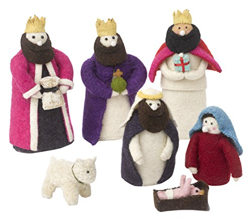 Arcadia Home Nativity Scene in Hand Felted Wool