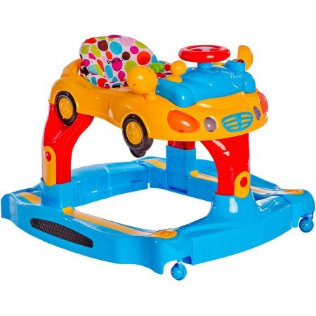 Brilliant,Cute and Super Comfy Dream On Me Joyride 3-in-1 Multi-Functional Walker, Rocker and Push Toy, with Rear View Mirrors,Removable Car Toy Tray and Interactive Lights and Sounds,Green and Blue