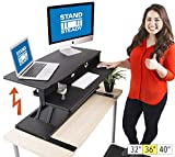 Flexpro Power Electric Standing Desk |Electric Height-Adjustable Stand up Desk | by Award Winning Stand Steady! Holds 2 Monitors! (Black) (36')