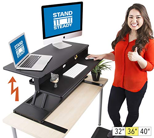 Flexpro Power Electric Standing Desk - Electric Height Adjustable Stand up Desk by Award Winning Stand Steady - Holds 2 Monitors (Black) (36