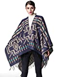 Aukmla Pashmina Shawls and Wraps Open Front Poncho Blanket Oversized Plaid Cape for Women and Girls (Blue)