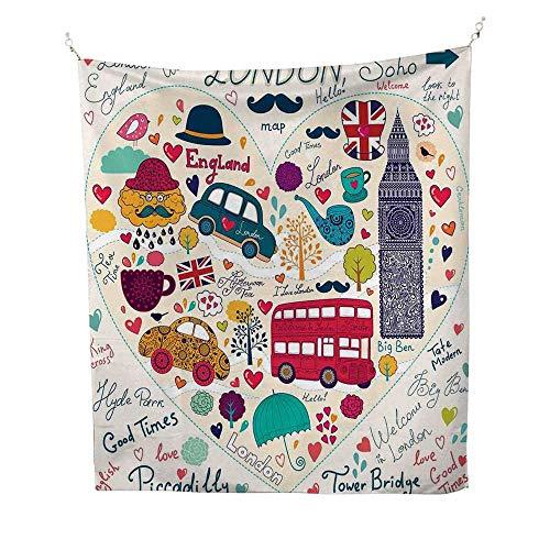 (Londonsimple tapestryColorful Symbols Red Bus Big Ben Tea Umbrella Hat Retro Black Cabin in a Heart Print 60W x 91L inch Art tapestryMulticolor)